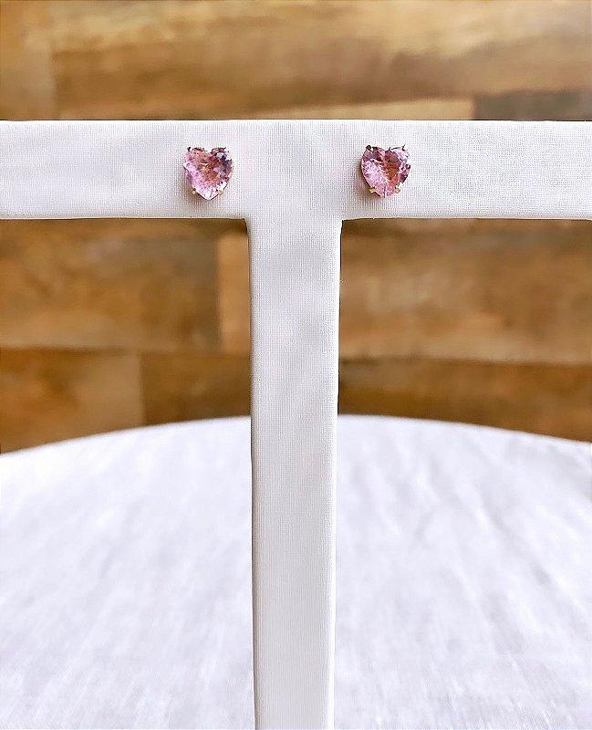 Brinco Coração Cristal Rosa