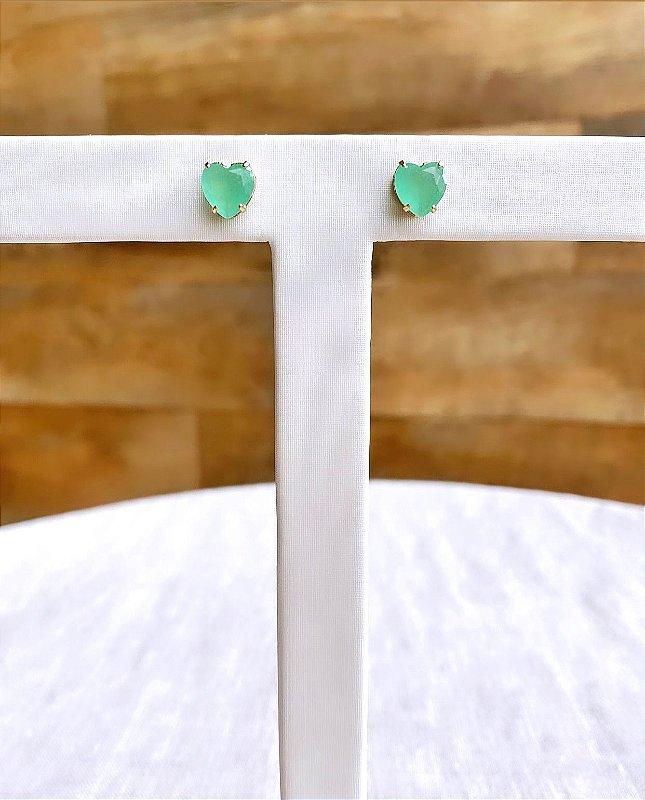 Brinco Coração Cristal Verde Fosco