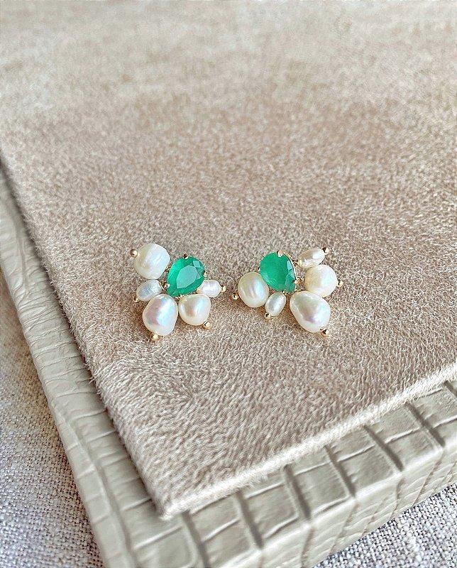 Brinco Pérolas Barroquinhas Gotinha de Cristal Verde Esmeralda