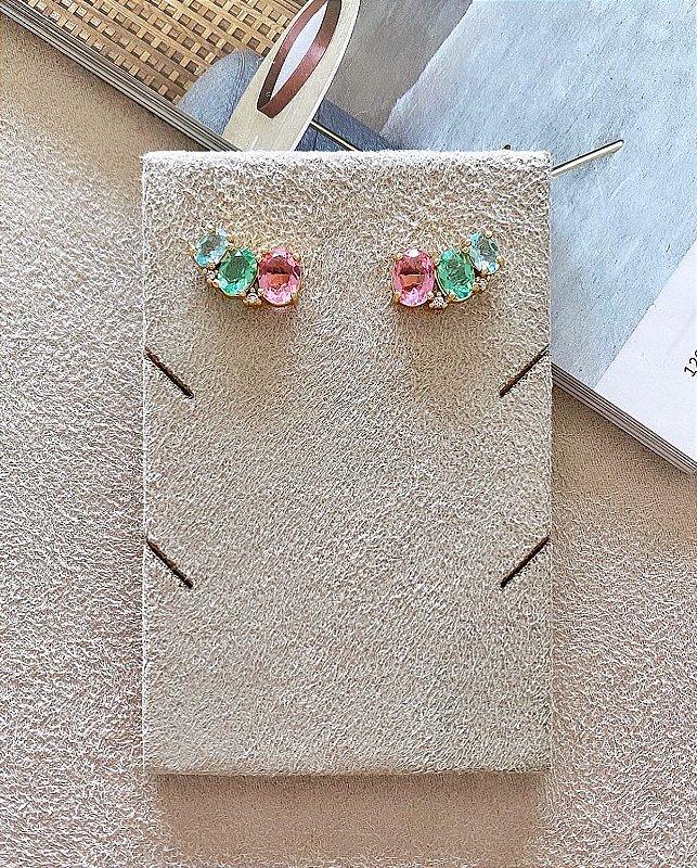 Brinco Ear Cuff Cristais Rosa Verde e Azul