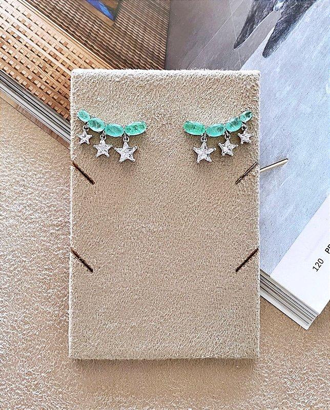 Brinco Ear Cuff Esmeralda Fusion c Estrelinhas