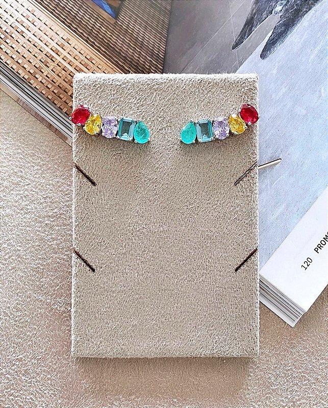 Brinco Ear Cuff Esmeralda Fusion e Cristais Coloridos (PRATA 925)