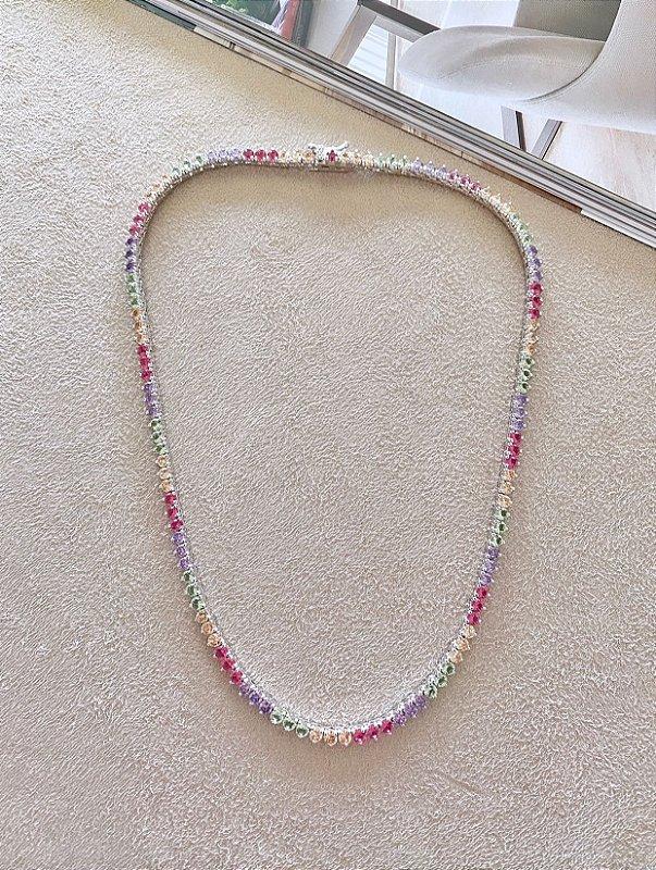 Riviera Candy Colors 3 Pontas Ródio Branco (40CM / CURTA)