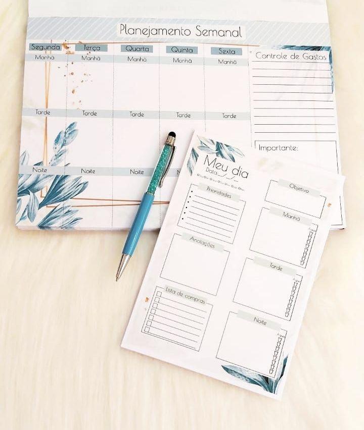 Kit Planejamento anual + diário - blue leaves