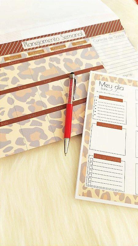 Kit Planejamento anual + diário - animal print