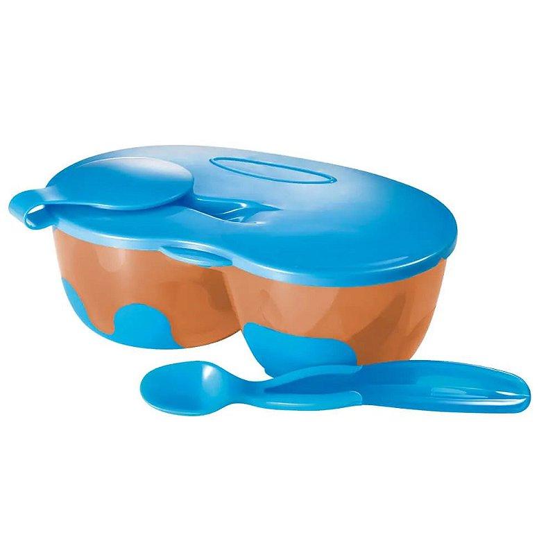Prato Fundo Com Divisória E Colher Funny Meal Azul Multikids Baby - BB053