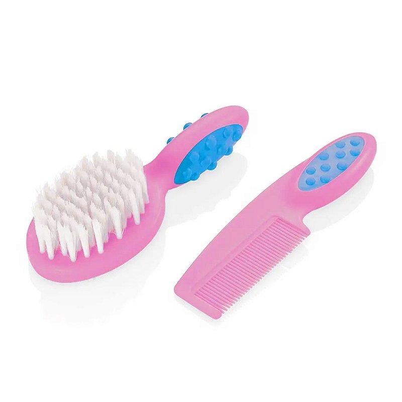 Pente E Escova Para Cabelo Soft Touch Rosa Multikids Baby - BB207