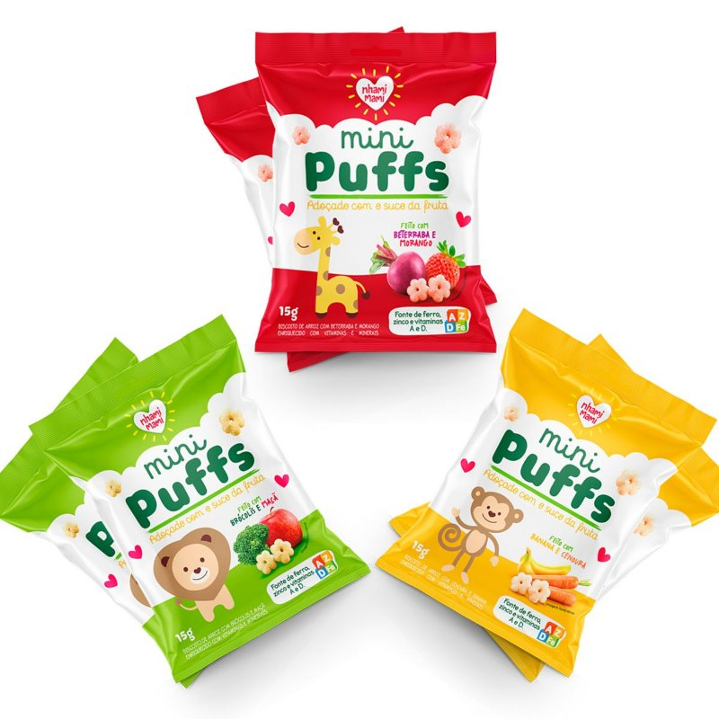 Mini Puffs Snack Integral Mix De Sabores 12 Unidades 15g