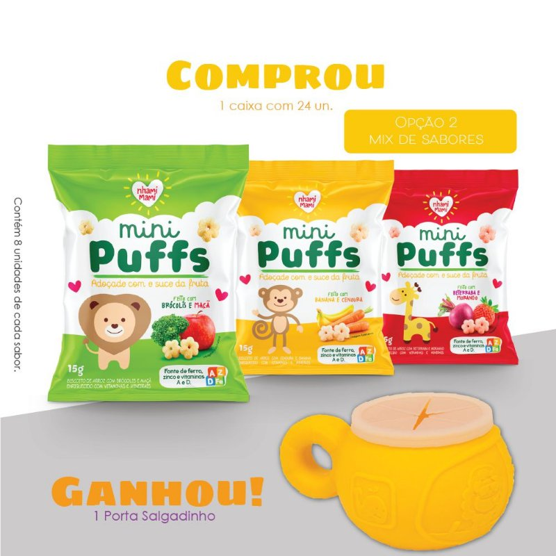 Mini Puffs Snack Integral Mix De Sabores 24 Unidades 15g - Girafa
