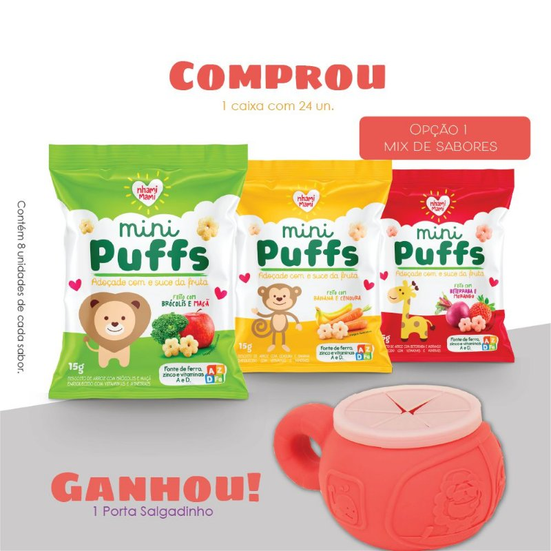 Mini Puffs Snack Integral Mix De Sabores 24 Unidades 15g - Leao
