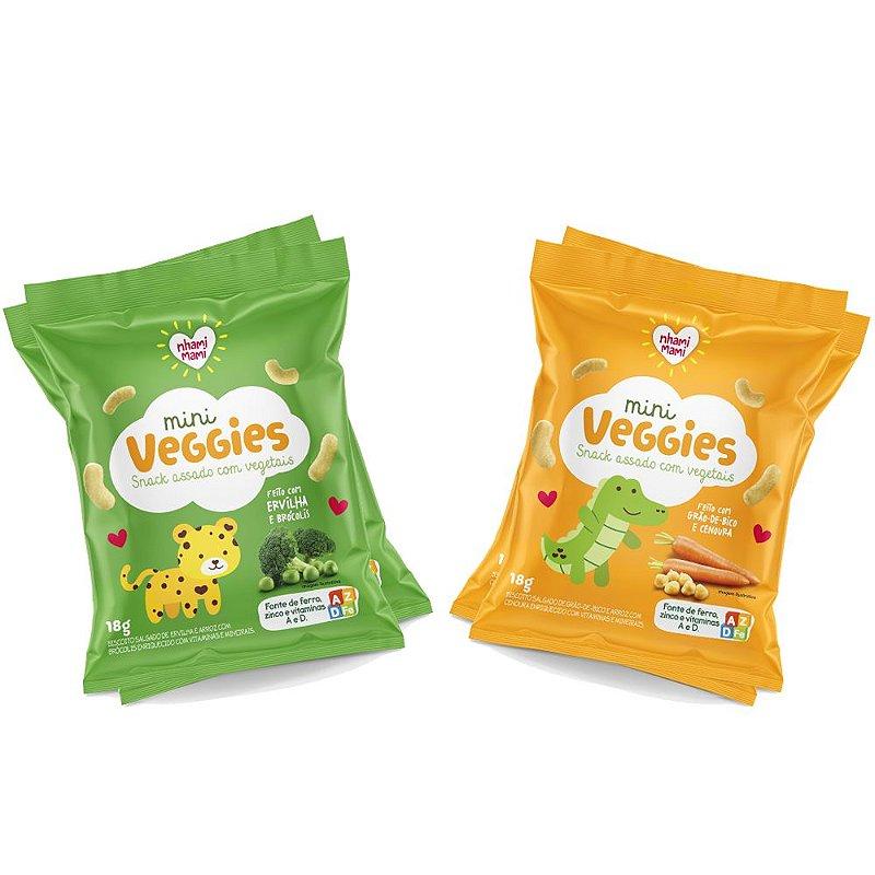 Mini Veggie Snack Integral Mix  - Grão de Bico e Cenoura e Ervilha e Brócolis 24 Unidades 18g