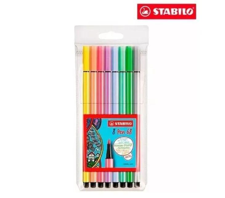 Stabilo Pen 68 Tons Pastel - Estojo Com 8 Canetas