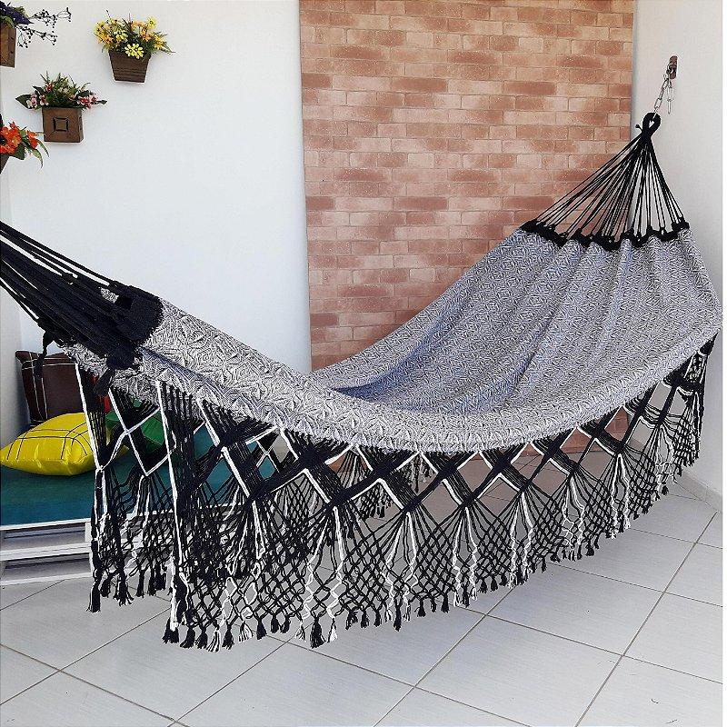 Rede de Dormir Casal Flor do Sertao Preto com Branco