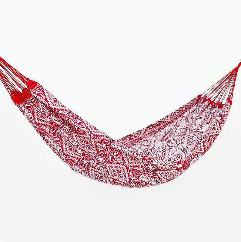 Rede de Dormir Casal Indiana Vermelho com Branco