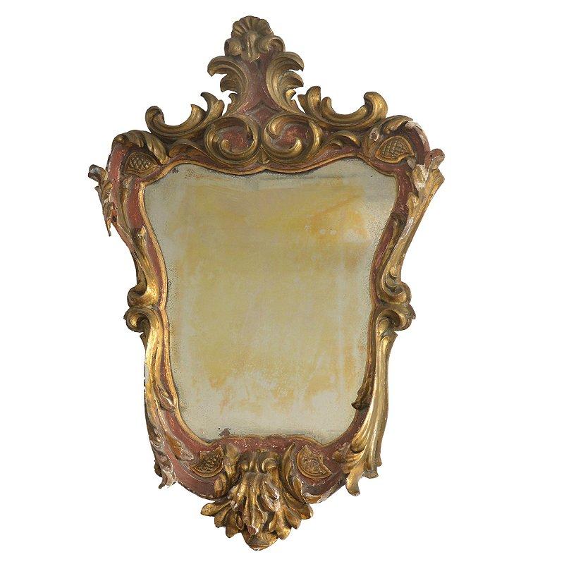 Espelho Frances ,  antiguidades , ouro com policromia rosa séc XVIII