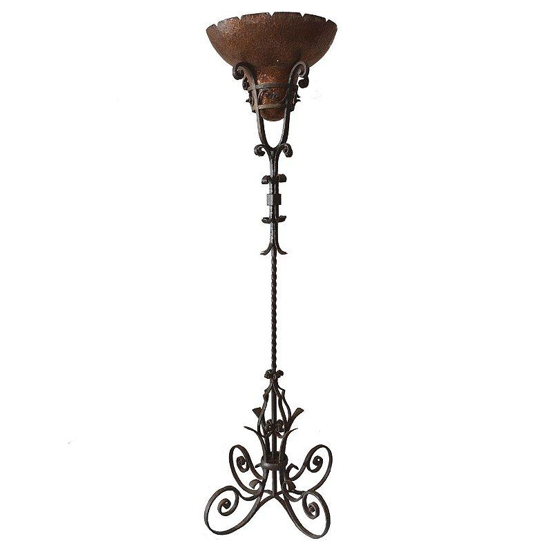 Luminária de Ferro Forgé , cúpula de cobre , Frances , Antiguidades
