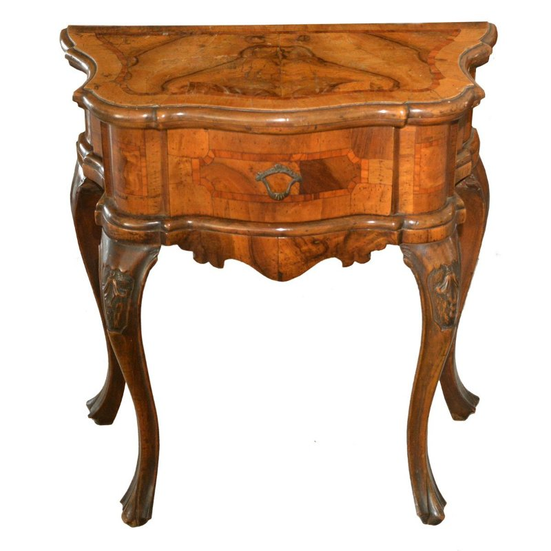 Par Mesa de Encosto com rádica de época , Italiana , colecionadores , mesa antiga ,