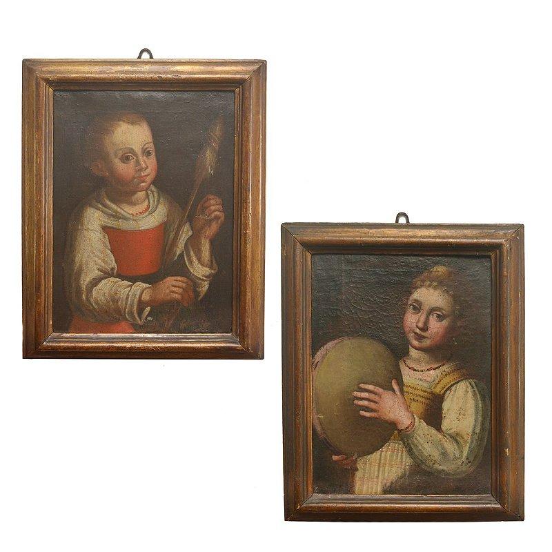 Par Quadros Europeus  Séc XVIII , Pintura sobre tela , Musicos , colecionadores