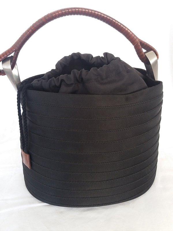 Bolsa preta Kenzo de gorgurão e couro