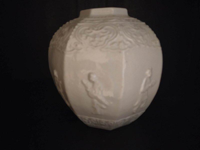 Blanc de Chine , sec XVIII vaso antigo chinês em formato de bowl lavrado