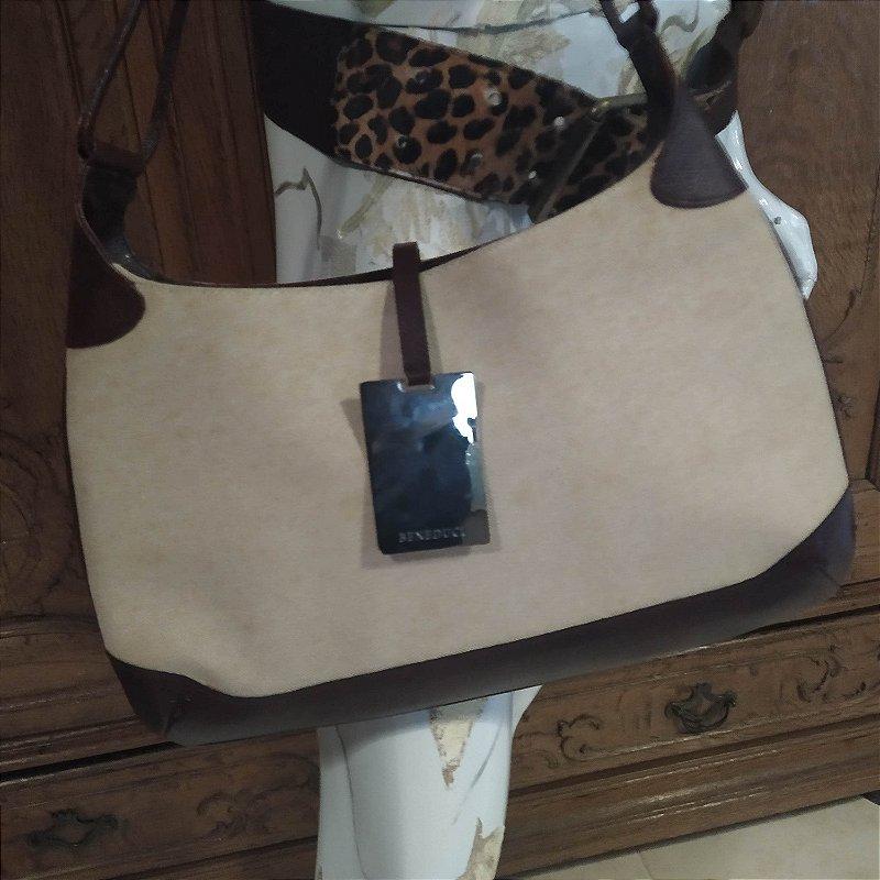Bolsa Benedduci de lona com couro e placa de metal modelo Gucci impecável