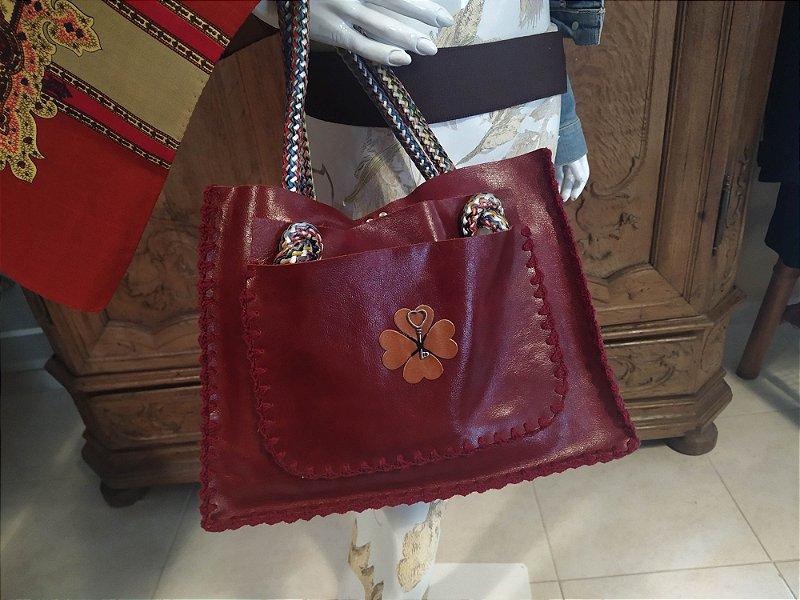 Bolsa de couro de Napa, com alça de corda em algodão, nunca usada