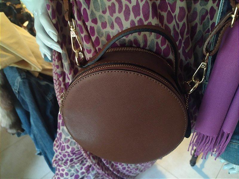Bolsa Italiana redonda modelo Gucci , em couro trabalhado , tiracolo , com alça , nunca usada