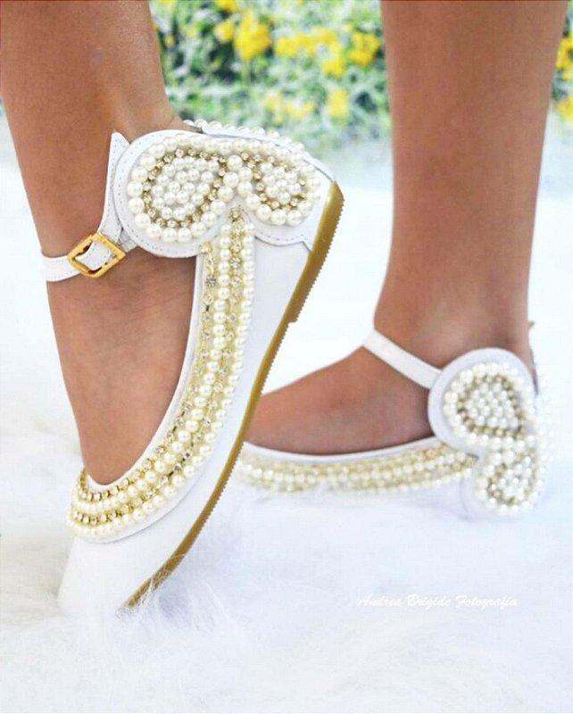 Sapato Branco Borboleta