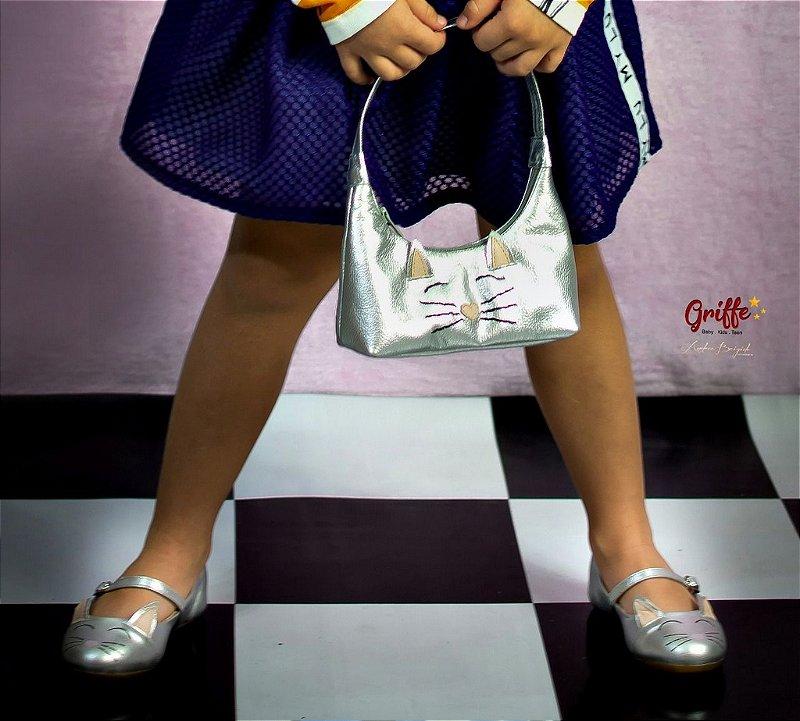 Sapato de Couro Gatinho com a bolsa