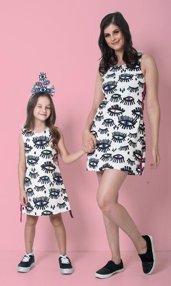 Vestido Olho Grego Mãe e Filha