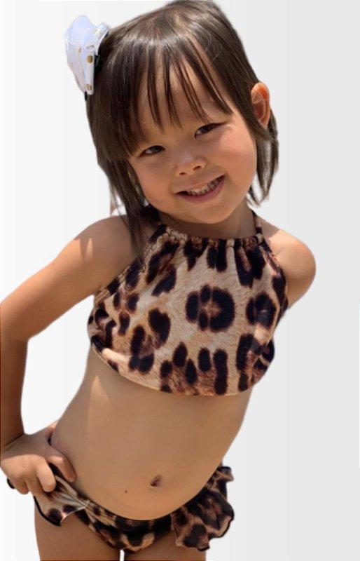 Biquíni Infantil Cropped com Babado Onça