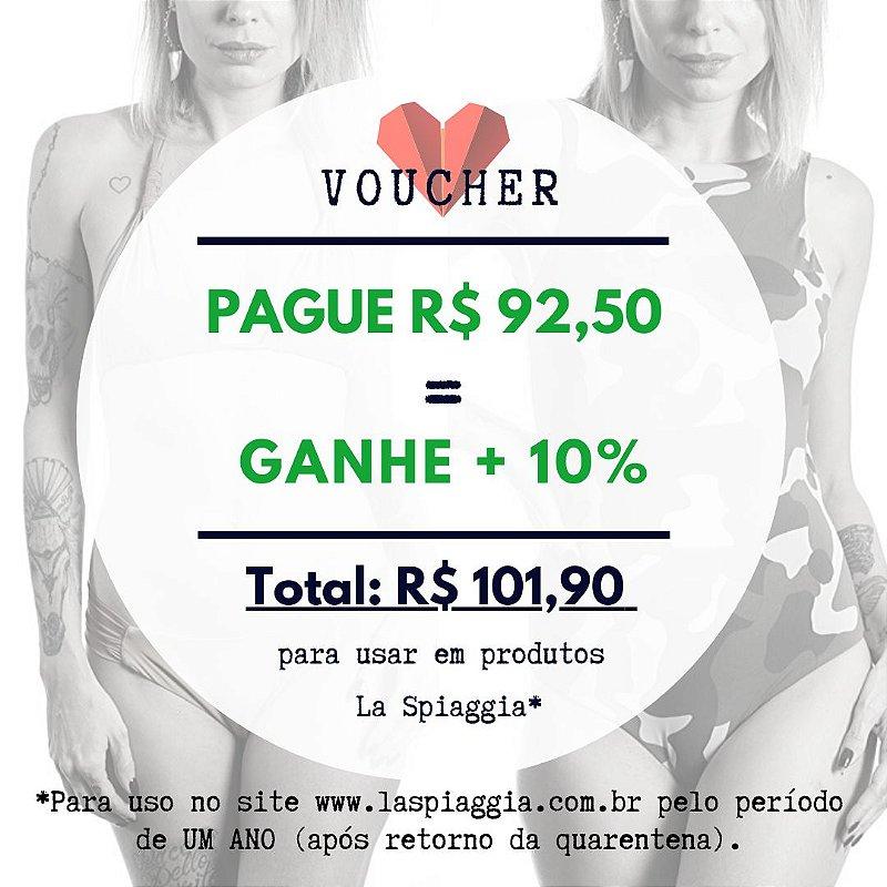 Voucher R$ 92,50 + Ganhe 10% = Compra de R$ 101,90