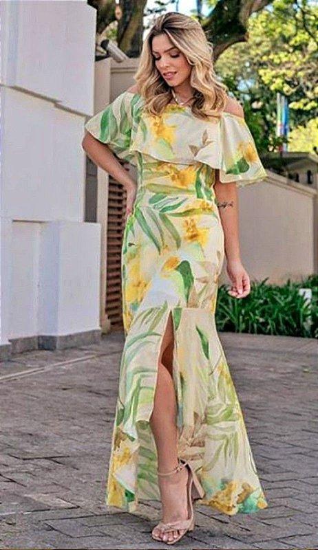Vestido Longo em Viscose Estampada Floral com Detalhe Babado