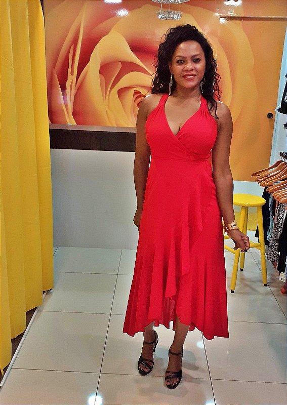 Vestido Longo  Janaina Cachecoeur em Crepe (envelope) Vermelho
