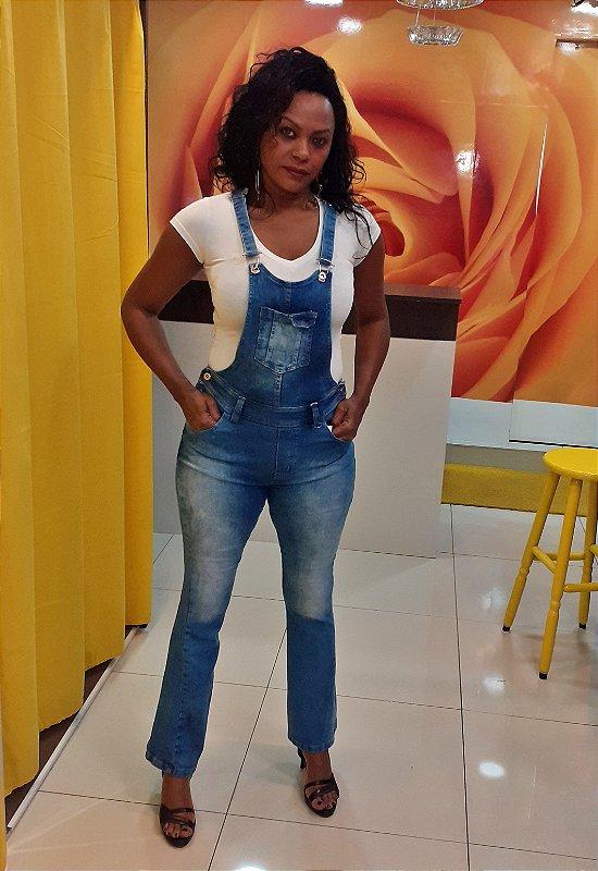 Macacão (Jardineira) Flare Jeans Azul