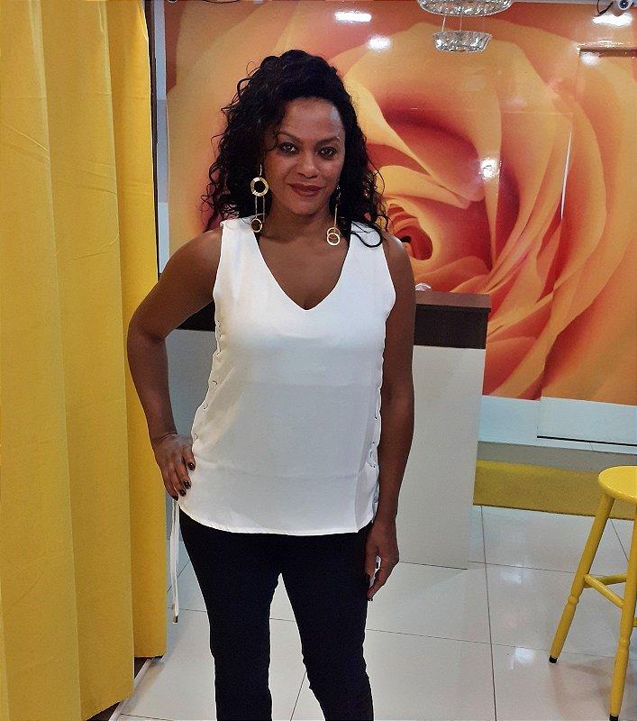 Blusa Feminina Jeanseria com trançado nas laterais branca