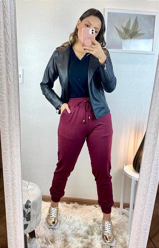 Calça Jogger Feminina  Moletinho Viscose  Amicia Fashion
