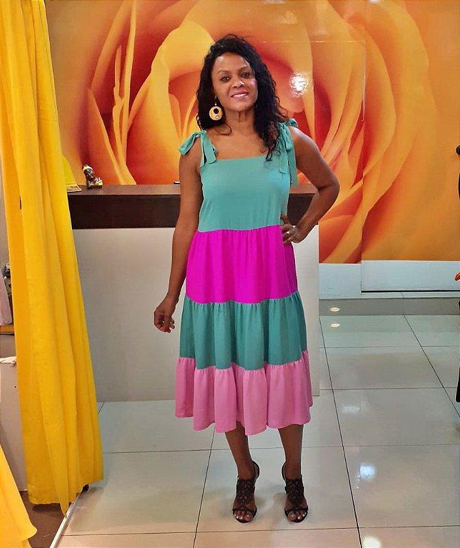 Vestido Midi Color Amarração nas Alças 2