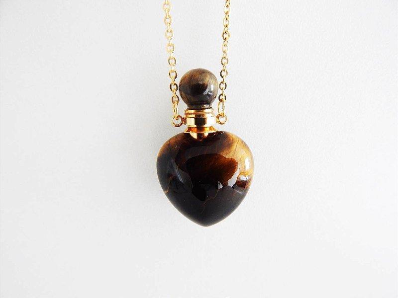 Colar Perfumeiro Dourado de Pedra Natural - Olho de Tigre