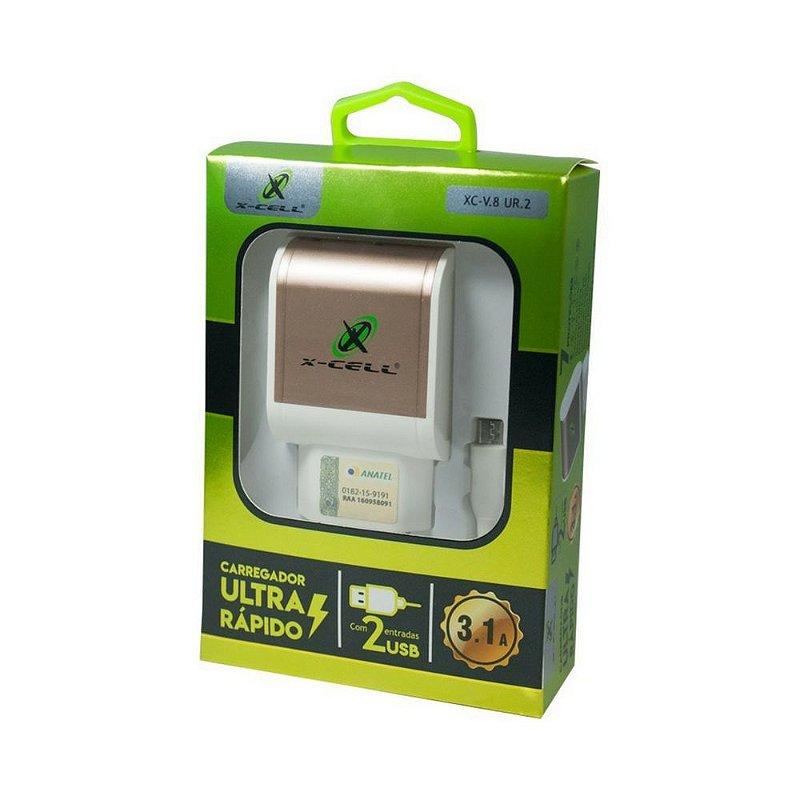 Carregador Fonte Parede Marca X-CELL V8 Micro USB Ultra Rápido 3.1A