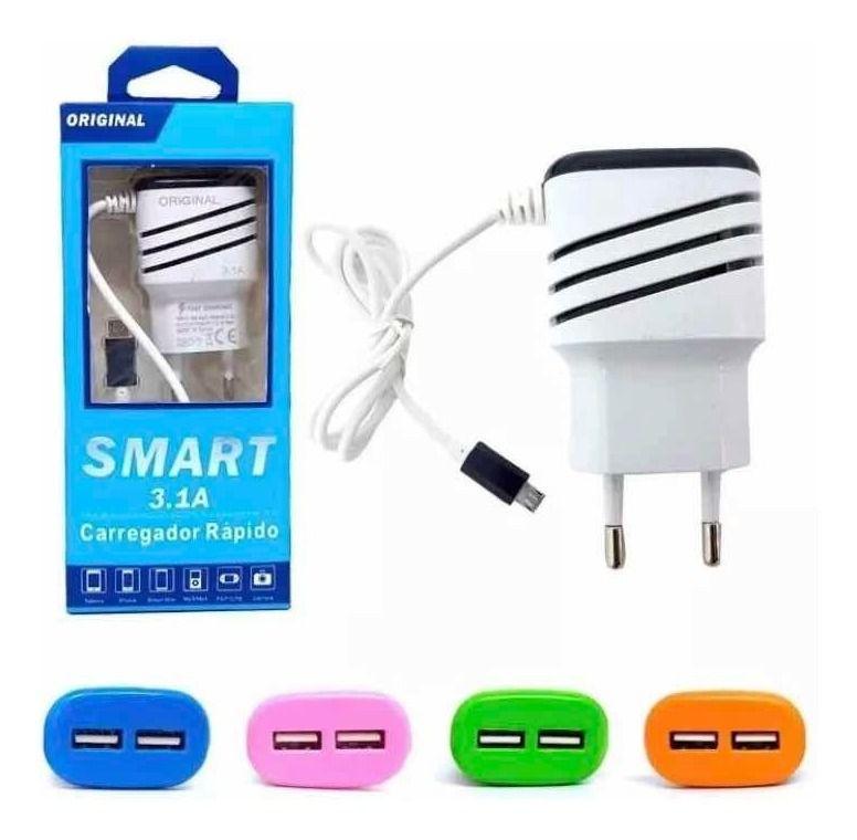 Carregador De Celular com Cabo V8 Micro USB SMART 3.1A