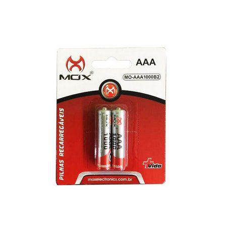 Pilha Palito Recarregável AAA 1000 mAh Mox Dotcell Cartela com Duas Unidades