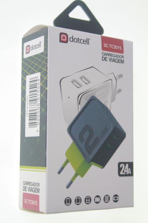 Carregador Viagem Dotcell DC-TC5015 2.4A - 2 USB - Verde