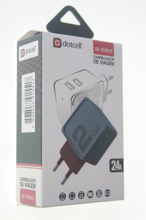 Carregador Viagem Dotcell DC-TC5015 2.4A - 2 USB  - Vermelho