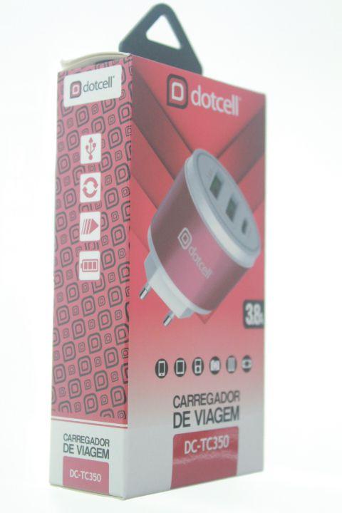 Carregador Viagem Dotcell DC-TC350 3.8A  - 2 USB e 1 Type-C - Vermelho