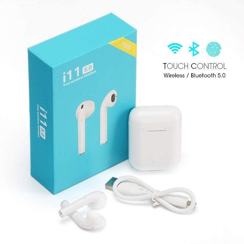 Fone de Ouvido Bluetooth Sem Fio Wireless i11 Tws Android-IOS Branco