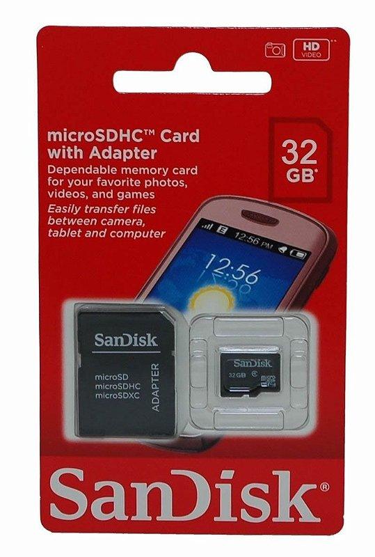Cartão de Memória Sandisk Micro SD 32Gb