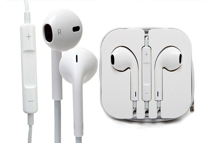 Fone de Ouvido iPhone Cable Flat Entrada P2 Som Stereo Com Microfone e Volume Cor Branca na Caixinha Acrilica