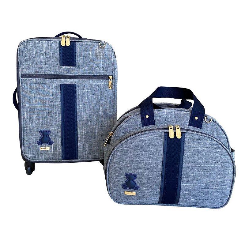 kit Maternidade Linho cinza com Fita Azul Marinho