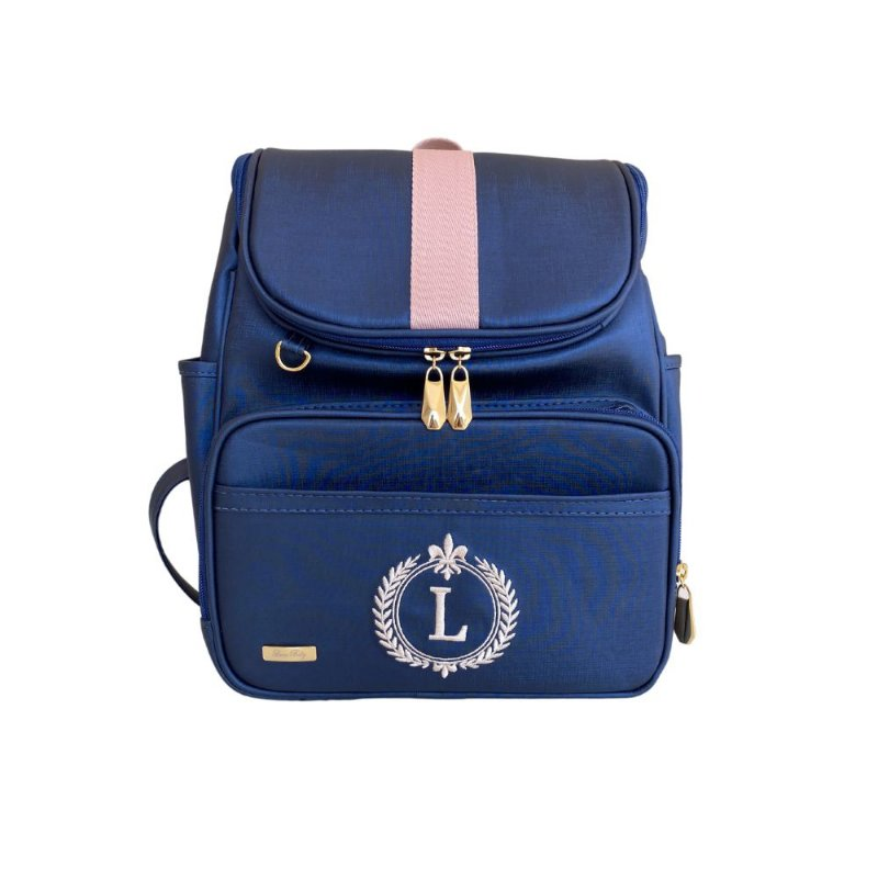 Mochila Maternidade Bag Azul Marinho com rose